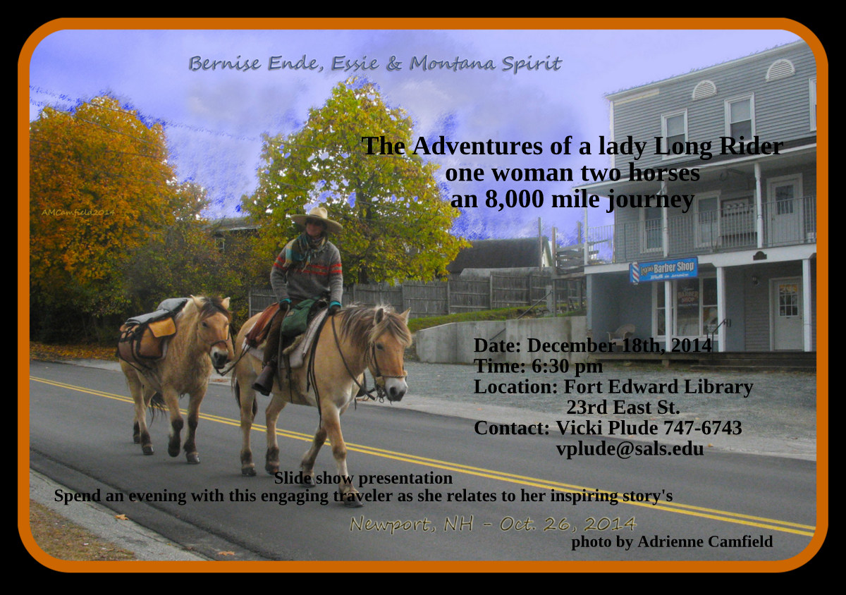 The Adventures of a lady Long Rider Thursday eve. 12/18 @ 6:30 pm
